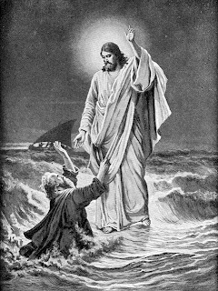 Jesus Christ walking on sea water and peter asking help black and white drawing art pic