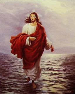 Jesus Christ walking on water in red and white dress with sunrise background drawing art image