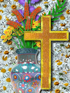 Beautiful yellow cross and flowers background picture for desktop(pc)