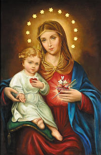 Jesus Christ sacred heart and Mother virgin Mary's immaculate heart color drawing(painting) picture