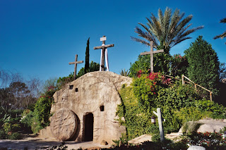 Empty tomb of Jesus Christ and Cross above the tomb free Christian religious image