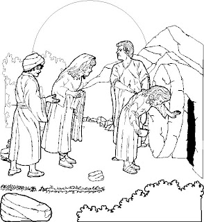 Jesus Christ Resurrection at empty tomb coloring page