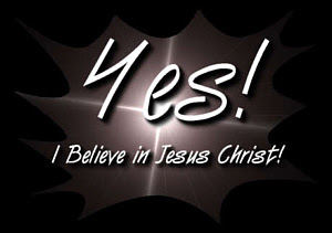 Yes I believe in Jesus Christ letters on black background with shining in center free religious Christian picture