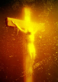 Jesus Christ on cross with golden shine and golden cross Christian religious photo free download
