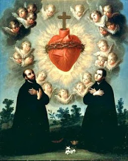 Saints, angels praying Jesus's Sacred heart and Cross on it download free Christian photos and PPT background images