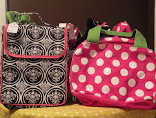 Black and white damask w/ pink trim Insulated lunch bags $15