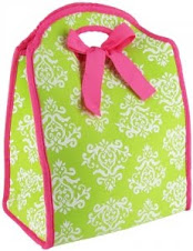 Lime green and pink lunch tote $15