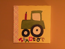 "Hand painted ""Tractor"" canvas art $18"