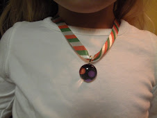 Halloween polka dot chick charm pendant with ribbon necklace $9