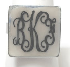 Engravable square shell ring $10 plus $5 for monogramming