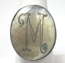 Engravable oval shell ring $10 plus $5 for monogramming