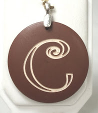Brown wood engravable pendant $9 plus $5 for monogramming