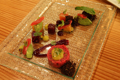 "Beets with fork-crushed avocado pistachio ""soil"","