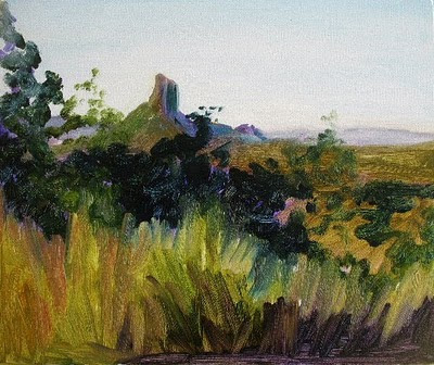 Amanda Russian: Glasshouse Mountains - Landscape Oil Painting