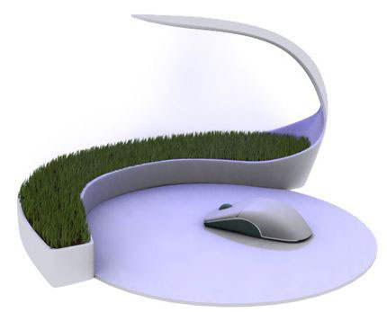Rumput hijau berserta lampu meja dan mouse pad. Melegakan mata yang ...