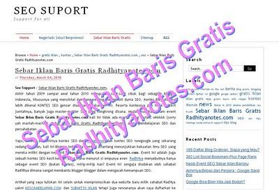 Sebar Iklan Baris Gratis Radhityanotes.com