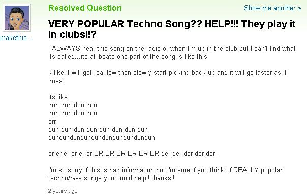 yahoo answers techno song fail