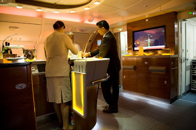 Two flight attendants at the bar on an Airbus 380