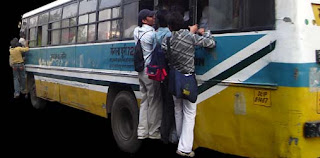 Overcrowded Delhi Blue Line Bus