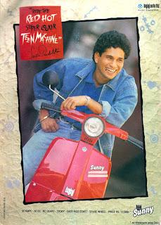 Sachin Tendulkar in a print ad for Bajaj Sunny