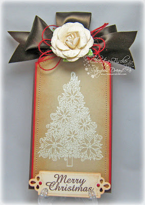 Flowers and ink poinsettia tree tag for Poinsettia christmas tree frame