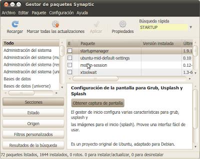 Sinaptic: Startup Manager