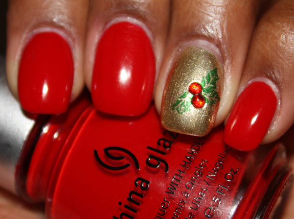 Stylish manicure nail polish nail art manicure with 3D effect manicure in red decoration of nails decorated manicure Christmas manicure