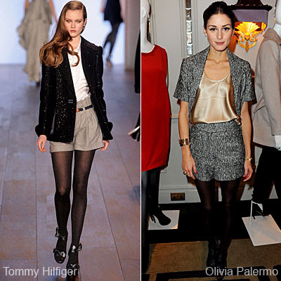 Office Fashion Show on At Tommy Hilfiger Fashion Show Light Coloured Shorts Pair With Black