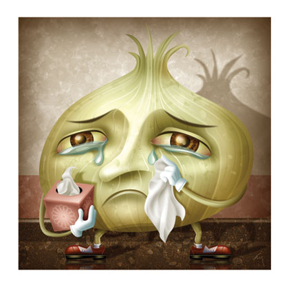 onion tears Just like pepper can make you sneeze, in fiction onions and especially the act of peeling them can produce oceans of tears, looking more like that all your family has died than like the mild eye irritation that occurs in boring real life oftentimes in fiction onions will make the characters.