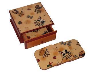 Caja portavasos x 6, de 16 cm x 15 cm con cajon