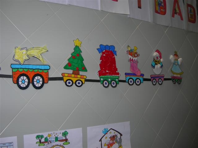 La clase de los romanos nuestro tren de la navidad for Mural navideno