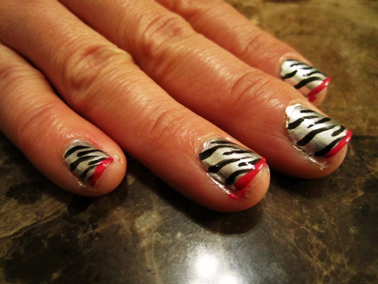 blanca1018�� zebra nails pinkblackwhite plaid nails