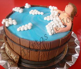 Tarta decorada Baño en el tonel.Las tartas de Jose. Castellón.