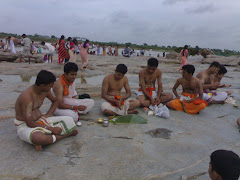 Puja on bank Of Holy Tungabhadra river