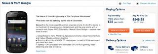 GOOGLE NEXUS S Smartphone Pre-order graphics