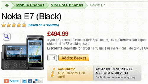 Nokia E7 Smartphone UK Launch price image