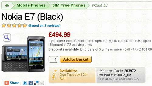 Nokia E7 Smartphone UK Launch price image