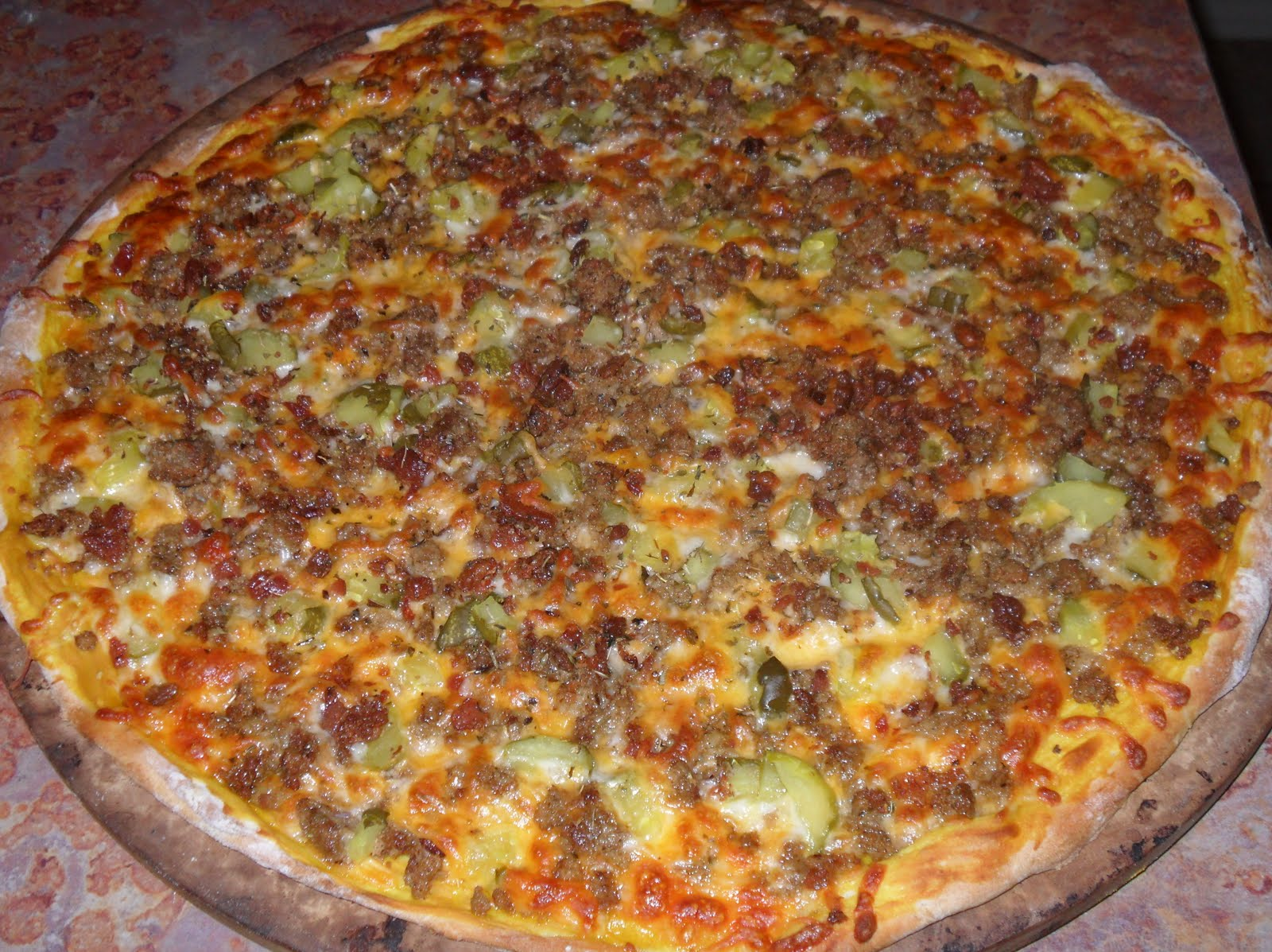 Dancing on the table bacon cheeseburger pizza