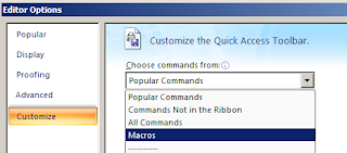 Select The macros commands section