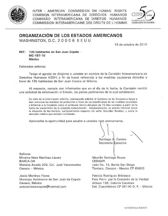 CIDH pide extremar medidas en favor de Jordán Caso San Juan Copala