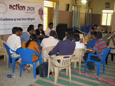Action 2020 organising youth team addressing Press Conference