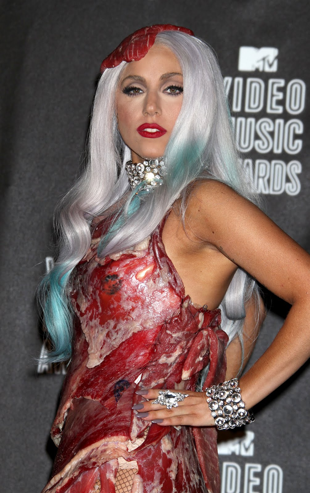 lady gaga meat dress real
