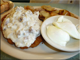 country fried steak with poached eggs