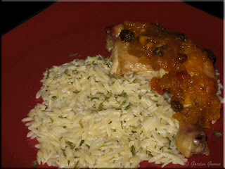 orzo with baked chicken and mango chutney