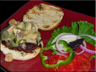 burgers with mushroom-vermouth topper