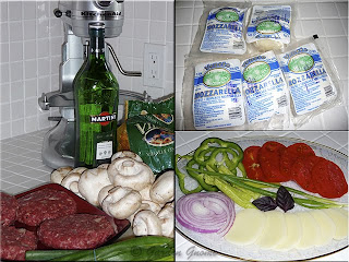 ingredients for burgers with mushroom-vermouth topper