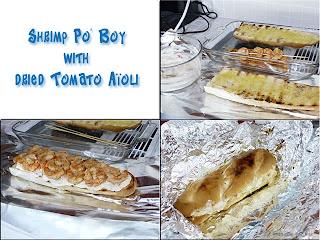 making the shrimp po'boy sandwich