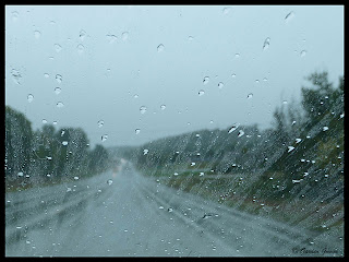 rainy drive with heavy rain