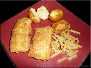 pan fried cod with deep fried potatoes