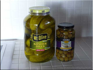commercially canned dill pickles and olives